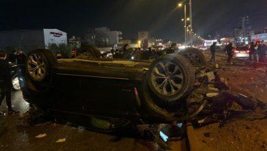 Photo of 4 اصابات بانقلاب سيارتان على شارع 444 بالطيبة