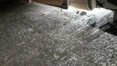 Photo of صور لتساقط البرد في منطقة اريئيل