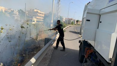 Photo of محمد سلامة من قلنسوة يوقف شاحنته لاخماد النيران على شارع 444 بالطيبة