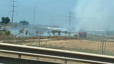 Photo of حريق شرقي مدينة الطيرة بالقرب من شارع 6