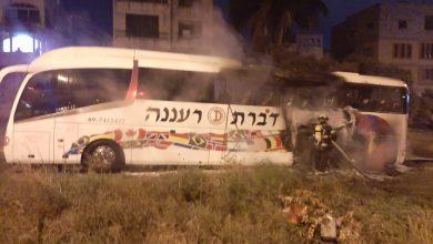 Photo of اشتعال النيران بحافلة في مدينة الطيبة